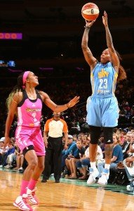 NEW YORK, NY - AUGUST 11: Cappie Pondexter #23 of the Chicago Sky shoots the ball against Candice Wiggins #2 of the New York Liberty on August 11, 2015 at Madison Square Garden, New York City , New York.  NOTE TO USER: User expressly acknowledges and agrees that, by downloading and or using this Photograph, user is consenting to the terms and conditions of the Getty Images License Agreement. Mandatory Copyright Notice: Copyright 2015 NBAE (Photo by Nathaniel S. Butler/NBAE via Getty Images)
