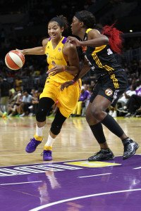 LOS ANGELES, CA - SEPTEMBER 06:  Candace Parker #3 of the Los Angeles Sparks handles the ball against Tiffany Jackson-Jones #33 of the Tulsa Shock in a WNBA game at Staples Center on September 6, 2015 in Los Angeles, California.  (Photo by Leon Bennett/Getty Images) *** Local Caption *** Candace Parker; Tiffany Jackson-Jones