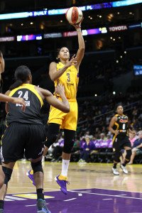 LOS ANGELES, CA - SEPTEMBER 06:  Candace Parker #3 of the Los Angeles Sparks goes to the basket against Vicki Baugh #24 of the Tulsa Shock in a WNBA game at Staples Center on September 6, 2015 in Los Angeles, California.  (Photo by Leon Bennett/Getty Images) *** Local Caption *** Candace Parker; Vicki Baugh