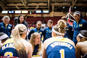 Kim Barnes Arico is emphatic at a timeout. Photo courtesy of Michigan Athletics.