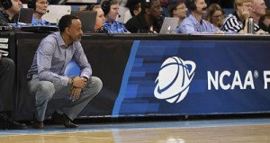Kenny Brooks coaches the Dukes during last year's NCAA Tournament. Photo courtesy of James Madison University Athletics.