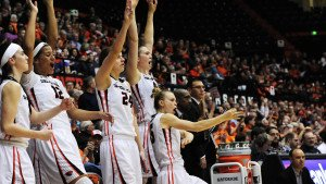 OSU celebrates a win last season. Photo by Dave Nishitani.i.