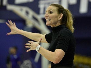 TCU coach Raegan Pebley guided the Horned Frogs to a winning record and to the second round of the WNIT in her first year last season. Photo courtesy of TCU Athletics.