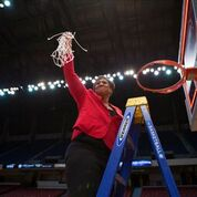 Coach Michelle Clark-Heard celebrates Western Kentucky's Conference USA Tournament Championship last season. Photo by Megan Stearman.