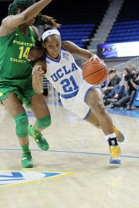 Nirra Fields drives against Jillian Alleyne. Photo by Ken Brooks/T.G.Sportstv1