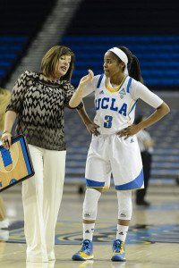 Cori Close explains a concept to point guard Jordin Canada. Photo by ASUCLA.