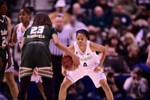 Moriah Jefferson defends the perimeter. Photo by Steven Slade, University of Connecticut Athletics.