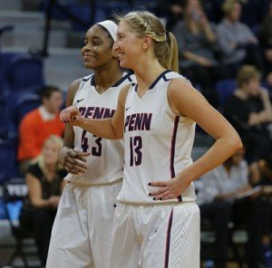 Forward Michelle Nwokedi and center Sydney Stipanovich have been an integral part of Penn's success this season. Photo by Hunter Martin/Penn Athletics.