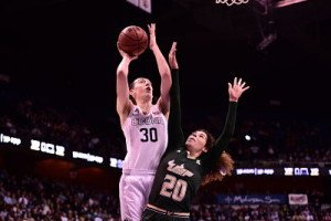 Breanna Stewart puts up a shot. Photo by Steven Slade.