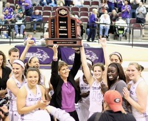 Coach Julie Goodenough and her team celebrate their regular-season Southland Conference title. Photo by Lyndi Felan.
