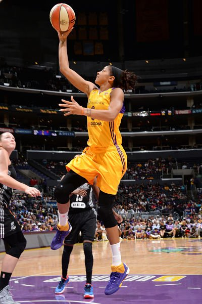 Candace Parker slices through the defense to score. Photo by Andrew D. Bernstein/NBAE via Getty Images/Courtesy of the Los Angeles Sparks