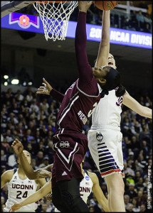 Breanna Stewart (30) of UConn blocks the shot of Mississippi State's Breanna Richardson (3) as she attempts to score a basket. Photo by Robert L. Franklin.