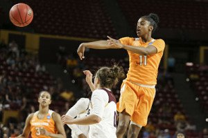 Diamond DeShields sends a pass across the key in Sunday's NCAA Tournament second round match up against Arizona State. Photo By Donald Page/Tennessee Athletics
