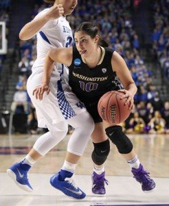 Kelsey Plum did her usual damage Friday night, scoring 32 points against Kentucky. Photo courtesy of Washington Athletics.