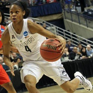 Moriah Jefferson storms up court. Photo by Steven Slade.