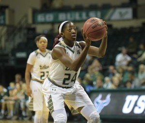 Senior forward Alisia Jenkins puts up a free throw shot. Photo courtesy of South Florida Athletics.