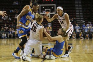 Jamie Weisner and Kari Korver fight for a loose ball. Photo by Eric Evans Photography.