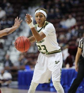 Shalethia Stringfield sets up the play against Temple. She finished with 20 points. Photo by Tim Clayton
