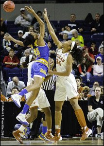UCLA's Monique Billings and Texas' Imani Boyette battle for the rebound. Photo by Robert L. Franklin.