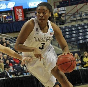 Morgan Tuck lead Connecticut with 16 points over East Carolina Saturday. Photo by Steven Slade.