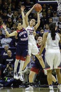 Breanna Stewart snags the rebound. Photo by Robert Franklin.