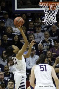 Napheesa Collier puts it up and in. Photo by Robert Franklin.