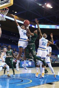 Shelithia Stringfield goes up against UCLA's bigs. Photo by William Johnson/T.G.Sportstv1.