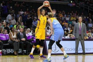 Candace Parker looks to pass over Elena Delle Donne, with coach Brian Agler at right. Photo by TGSportsTV1.