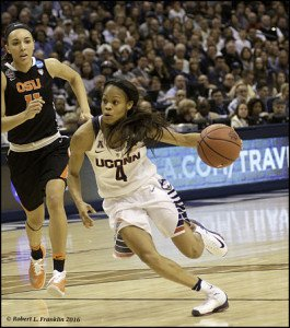 Moriah Jefferson storms up the court. Photo by Robert L. Franklin.