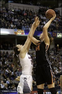 Ruth Hamblin puts up a shot against Breanna Stewart. Photo by Robert L. Franklin.