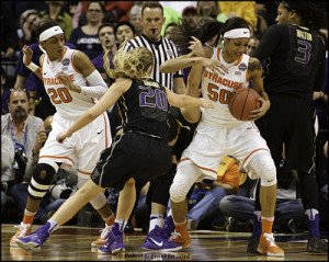 Syracuse's Briana Day grabs a loose ball. Photo by Robert L. Franklin.