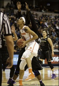 Briana Day is guarded by Chantel Osahor. Photo by Robert L. Franklin.
