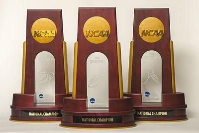 NCAA championship trophies. Photo by Peter Morenus/UConn Photo.