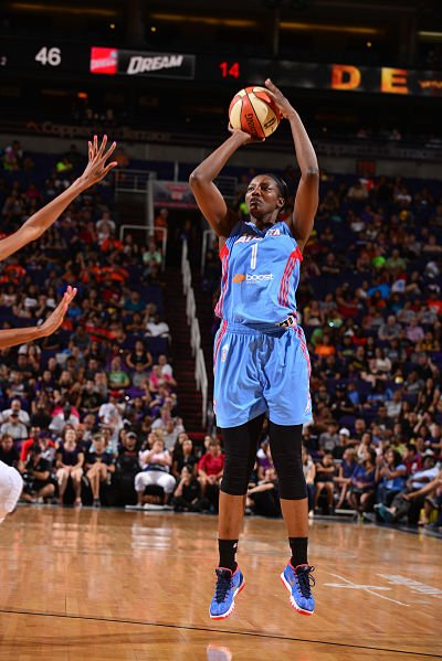 DeLisha Milton-Jones enters her 18th season in the WNBA this year. Photo by Barry Gossage/NBAE via Getty Images, courtesy of the Atlanta Dream.