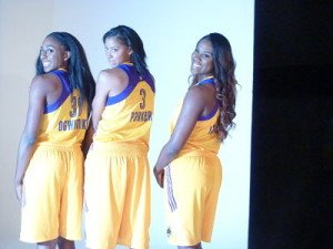Nneka Ogwumike, Candace Parker and Jantel Lavender at media day. Photo by Sue Favor.