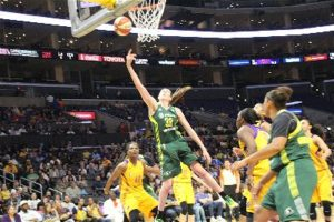 Breanna Stewart lays it up and in. Photo by Benita West/T.G.Sportstv1.