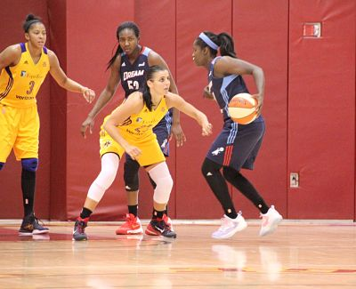 Sparks guard Ana Dabovic defends Dream guard Tiffany Hayes. Photo by Benita Wright/TGSportsTV1.