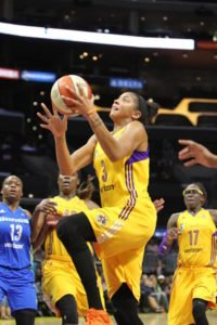 Candace Parker takes it to the rack in the fourth quarter of Tuesday's game against Dallas, when she scored 31 points and pulled down 13 rebounds. Photo by Ken Brooks/T.G.Sportstv1/