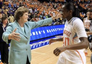 Pat Summitt embraces Shekinna Stricklen after Tennessee won the 2012 SEC Championship. From scout.com