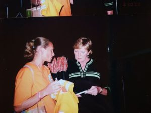 Pat Summitt and Sue Favor have a few words, Aug. 30, 2008. Photo by Sue Favor.