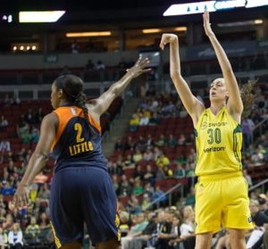 Breanna Stewart shoots over the Sun's Camille Little. Photo by Neil Enns/Storm Photos.