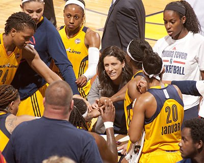 Stephanie White conducts a timeout. Photo courtesy of Indiana Fever.