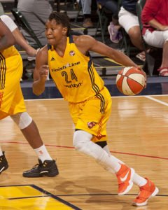 Tamika Catchings on the fast break. Photo courtesy of Indiana Fever.