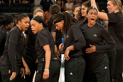 The New York Liberty were fined for altering warm up uniforms to plain black. Associated Press file photo.