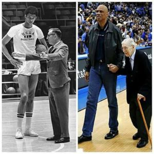 Kareem Abdul Jabbar and Coach John Wooden remained friends for decades after they worked together at UCLA. Left: AP Photo archive. Right: Gus Ruelas/AP Photos.