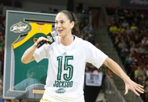 Sue Bird talks about her longtime friend Lauren Jackson at her retirement ceremony. Photo by Neil Enns/Storm Photos.