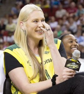 Lauren Jackson laughs at Sue Bird's speech. Photo by Neil Enns/Storm Photos.