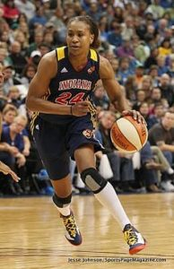 Tamika Catchings drives to the basket during the 2012 WNBA Finals series. Photo by Jesse Johnson/Sportspagemagazine.com.