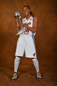 Tamika Catchings poses for portraits with the Championship Trophy on Oct. 21, 2012 at Bankers Life Fieldhouse in Indianapolis, Indiana. Photo by Jesse D. Garrabrant/NBAE via Getty Images.