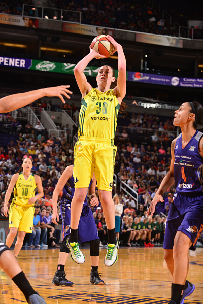 Breanna Stewart has played more minutes than any player in the league, but has yet to foul out of a game. Photo courtesy of Storm Basketball.